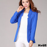 【KVOLL大尺碼】寶藍色無領開襟西裝外套
