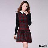 【KVOLL大尺碼】紅灰色格紋修身連衣裙