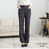 艾之田LOVE FIELD-復古羊毛熱感保暖格紋長褲(藍)