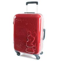 【CROWN皇冠】25吋TSA海關鎖 迪士尼米奇皇室版硬殼旅行箱 雙色紅黑