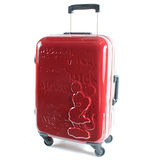 【CROWN皇冠】19.5吋TSA海關鎖 迪士尼米奇皇室版硬殼旅行箱 雙色紅黑