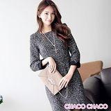 預購【CHACO韓國】簡雅混色毛呢折袖厚料長袖洋裝CLED-O-3(黑色S/M/L)
