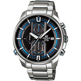 CASIO EDIFICE 金屬流線立體設計賽車腕錶(黑+藍圈/44.6mm) EFR-533D-1A