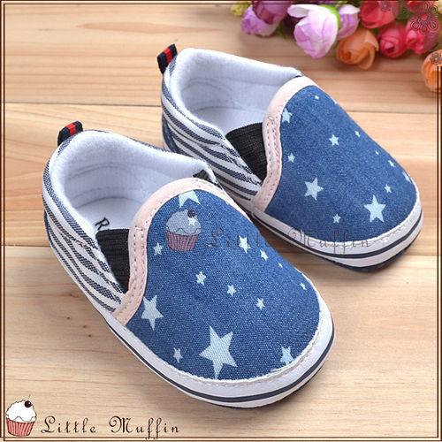 條紋星星套腳牛仔便鞋 樂福鞋 止滑軟底學步鞋 SMI361