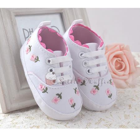 刺繡花朵滾邊白色便鞋 止滑軟底學步鞋 SMI362