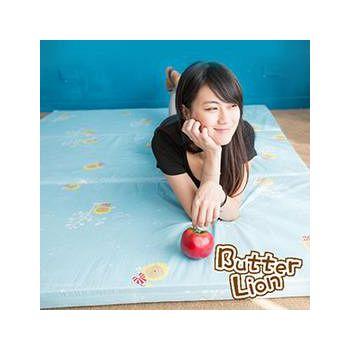 奶油獅 三折記憶聚合收納床墊雙人 水藍(5尺)
