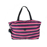 【Kipling】比利時品牌 超大型收納王肩背兩用旅行袋 三色橫條 K-374-2292-061