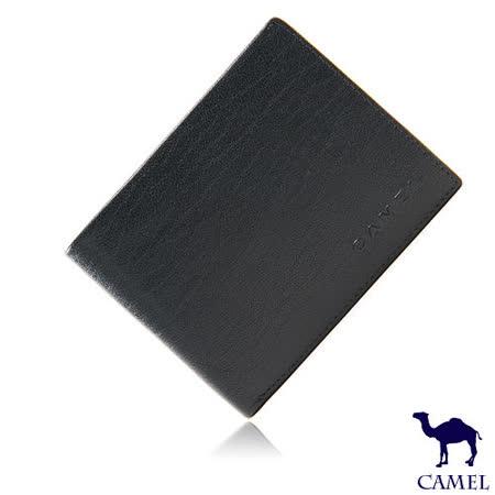 CAMEL - 沉穩內斂系真皮款8卡1照左右翻短夾-低調藍