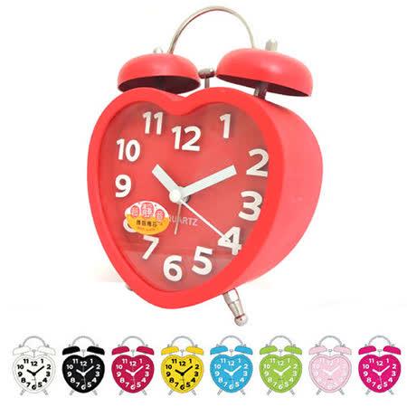 糖果色立體數字雙鈴心型鬧鐘 SV-1328