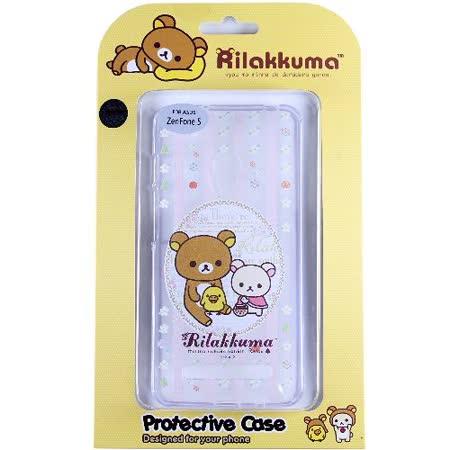 Rilakkuma 拉拉熊/懶懶熊 ASUS ZenFone 5 彩繪透明保護軟套-花草優雅熊
