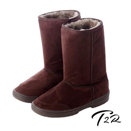 【韓國T2R】秋冬韓系女孩必備經典款內裡毛茸茸雪靴 內增高↑7cm 咖啡5500-0618(原裝進口)
