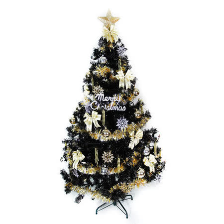 台灣製造4尺/4呎(120cm)時尚豪華版黑色聖誕樹(+金銀色系配件組)(不含燈)