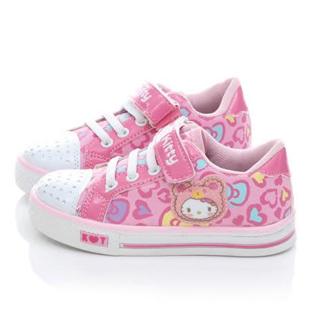 童鞋城堡-Hello Kitty中大童水鑽愛心甜美帆布鞋714876-粉