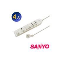 三洋 SYPW-366A 3孔6座6切6尺平貼式安全延長線(4入)