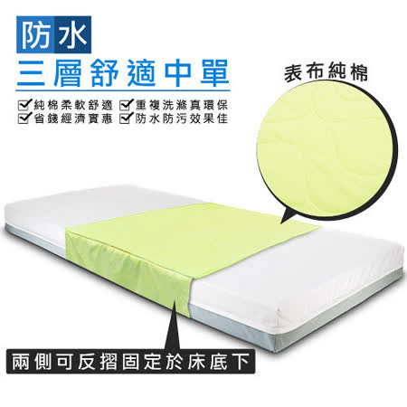 防水三層舒適中單2入裝(90*75cm)~純棉~可替代看護墊、保潔墊
