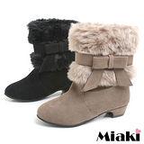 【Miaki】韓版俏麗蝴蝶鞋毛料拼接低跟短筒雪靴 (黑色/卡其色)