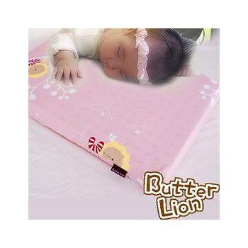 奶油獅 天然乳膠嬰兒趴睡枕(附純棉布) 粉紅