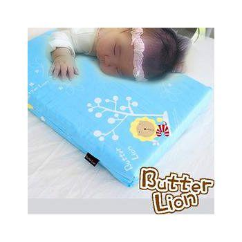 奶油獅 天然乳膠嬰兒趴睡枕(附純棉布) 水藍