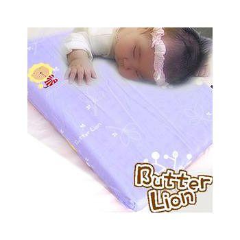奶油獅 天然乳膠嬰兒趴睡枕(附純棉布) 幻紫