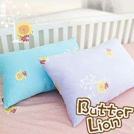 奶油獅 信封式標準枕通用純棉枕頭套 水藍(兩入)