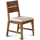 【椅吧】 歐風樸質柚木色實木皮面餐椅