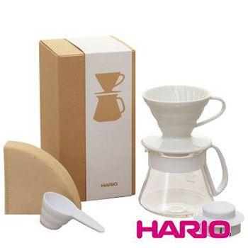 HARIO V60白色濾杯咖啡壺組 VDS-3012W