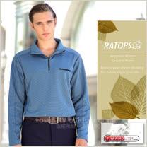 【瑞多仕-RATOPS】男款 Thermolite 長袖保暖衣.半開襟立領衫.休閒衫.吸濕排汗衣/DB5900 礦物藍色
