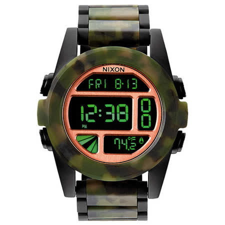 NIXON The UNIT SS 荒野之戰迷彩時尚叢林腕錶-鋼帶