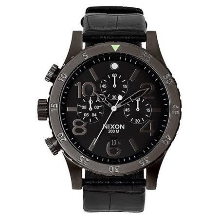NIXON The 48-20 CHRONO 潮流重擊運動腕錶-黑x皮帶