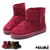 【Miaki】韓式首選貓臉造型平底低筒雪靴短靴 (黑色 / 咖啡 / 棕色 / 紅色)