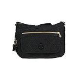【Kipling】BASIC系列 比利時品牌 前口袋彎月斜背包 蜂巢黑K-374-3163-051
