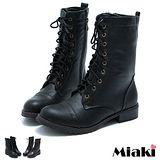 【Miaki】韓風直擊綁帶低筒馬汀靴短靴 (咖啡 / 黑色)