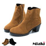 【Miaki】MIT 韓版復刻中跟低筒靴短靴機車靴 (棕色 / 黑色)