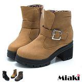 【Miaki】暢綃韓風扣環厚底低跟短靴 (卡其 / 黑色 / 棕色)