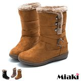 【Miaki】秋冬暢銷保暖平底中筒雪靴(內增高) (卡其 / 黑色 / 棕色)
