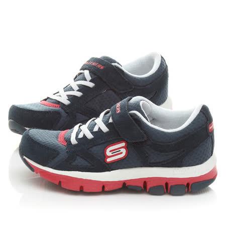 SKECHERS中大童輕量慢跑運動鞋996210LNVRD-黑