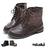 【Miaki】首爾必敗雕花綁帶低跟馬汀靴短靴 (咖啡 / 黑色)