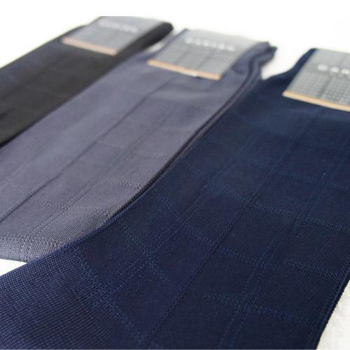 法國 吸濕排汗格紋紳士襪  25~27cm