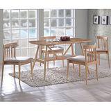 【幸福屋】德恩斯4.4尺原木色餐桌椅組(一桌四椅)