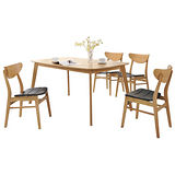 【幸福屋】傑拉爾5尺原木色橢圓餐桌椅組(一桌四椅)