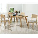 【幸福屋】賈爾斯4.3尺原木餐桌椅組(一桌四椅)