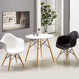 【幸福屋】丹尼斯2.7尺白色圓桌黑、白色椅組(一桌二椅)