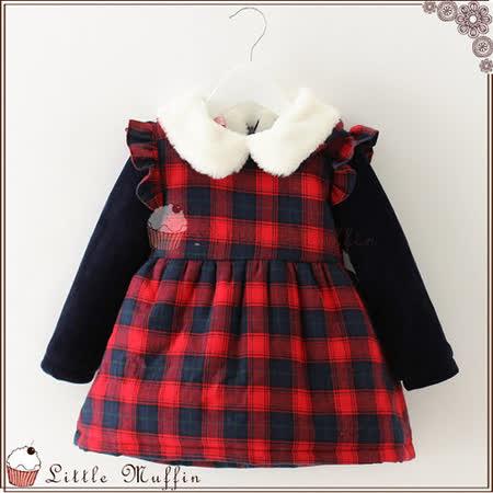 優雅格紋娃娃領鋪棉加絨超保暖長袖洋裝 WMI144