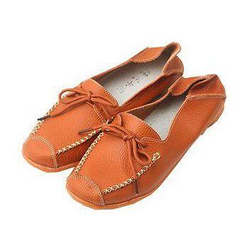 預購-ALicE Y501-2 百搭簡約綁帶真皮鞋 -橘