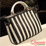 DF Queenin日韓 - 皇室典雅黑白色調款手提斜背2用包