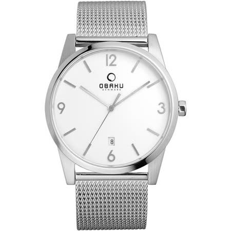 OBAKU 極致深焙簡約日期腕錶-銀框白x米蘭帶