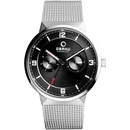 OBAKU 浩瀚星宇雙眼日期腕錶-黑x銀米蘭帶