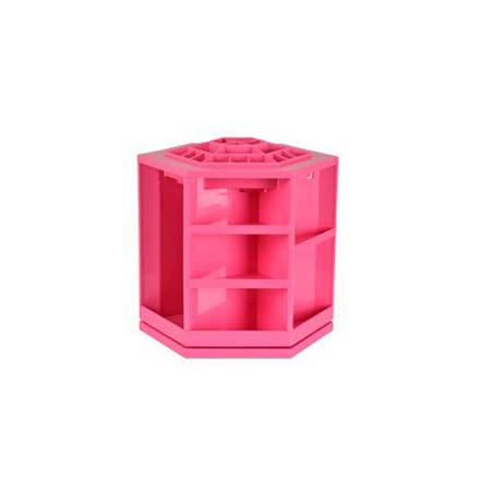 韓版360度旋轉化妝品大容量收納架(紅色)