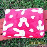 【BEDDING】 包邊款式 法蘭絨增溫保暖萬用毛毯 甜心兔兔