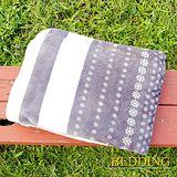 【BEDDING】 包邊款式 法蘭絨增溫保暖萬用毛毯 灰調小花